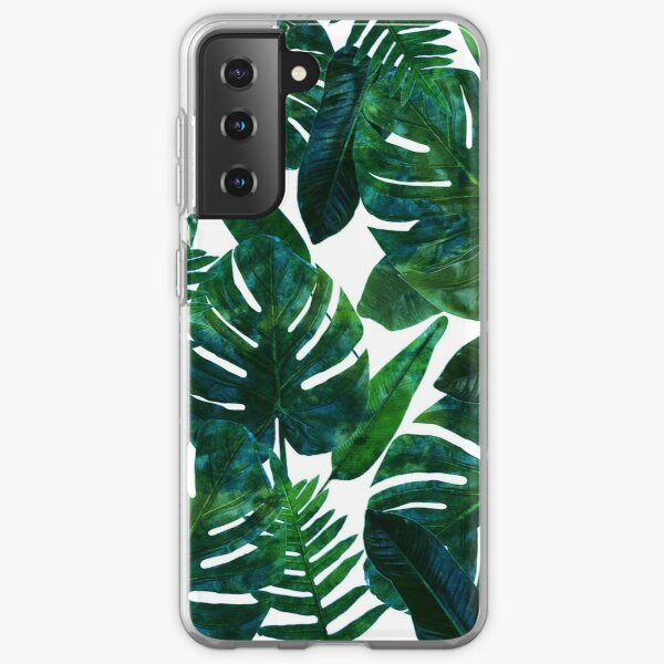 Perceptive Dream, Tropical Jungle Nature Botanical Watercolor Painting, Palm Monstera Bohemian Illustration Samsung Galaxy Soft Case