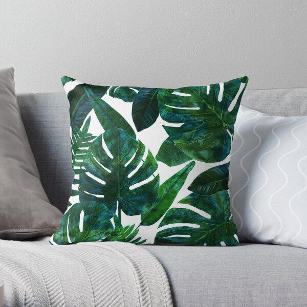 Perceptive Dream, Tropical Jungle Nature Botanical Watercolor Painting, Palm Monstera Bohemian Illustration Throw Pillow