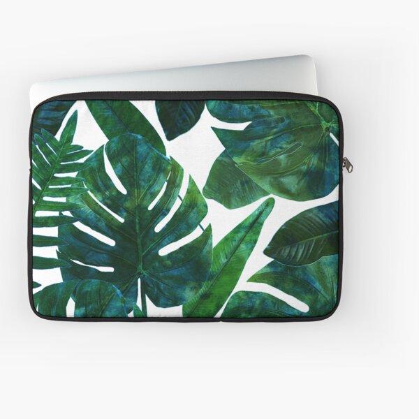 Perceptive Dream, Tropical Jungle Nature Botanical Watercolor Painting, Palm Monstera Bohemian Illustration Laptop Sleeve