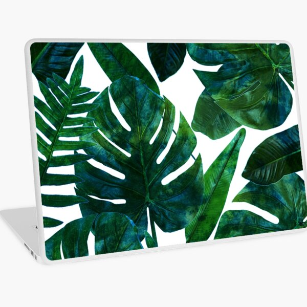 Perceptive Dream, Tropical Jungle Nature Botanical Watercolor Painting, Palm Monstera Bohemian Illustration Laptop Skin