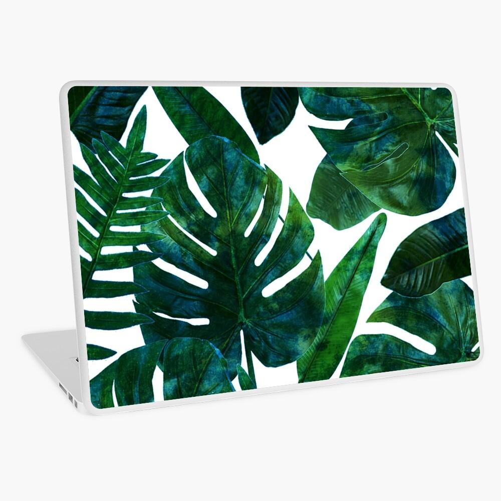 Perceptive Dream, Tropical Jungle Nature Botanical Watercolor Painting, Palm Monstera Bohemian Illustration Laptop Skin