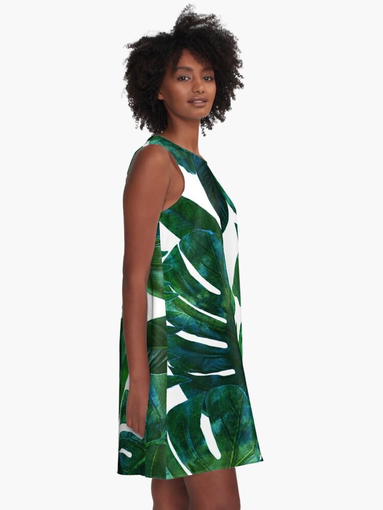 Alternate view of Perceptive Dream, Tropical Jungle Nature Botanical Watercolor Painting, Palm Monstera Bohemian Illustration A-Line Dress