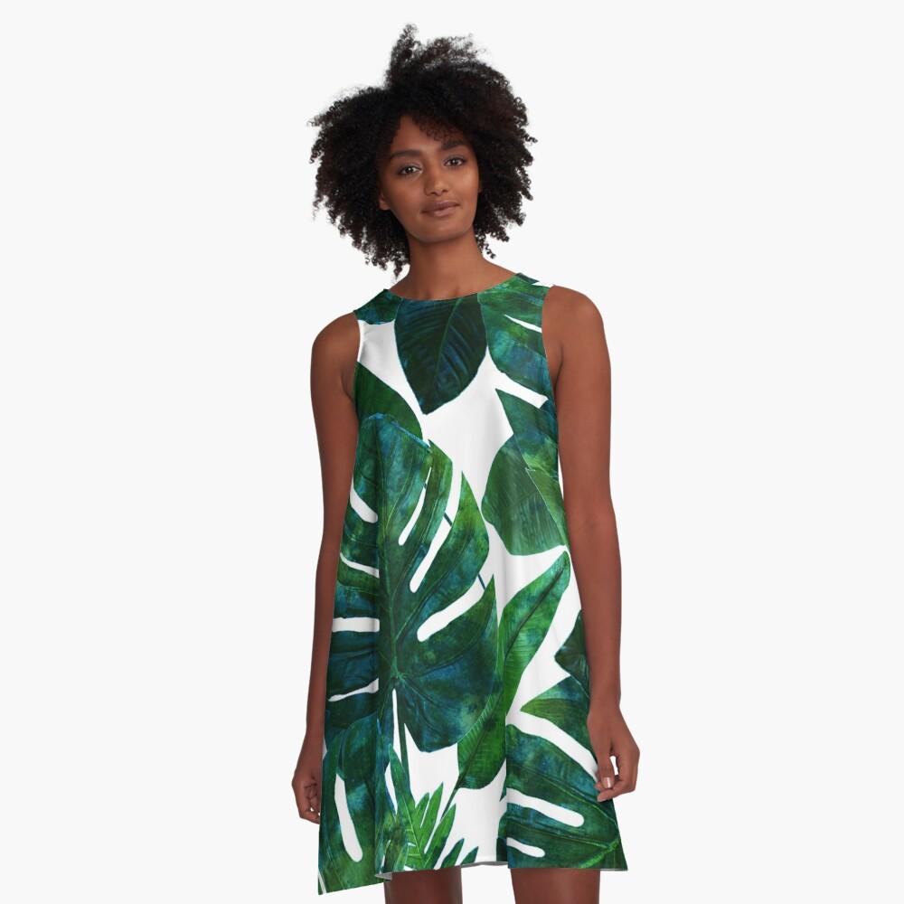 Perceptive Dream, Tropical Jungle Nature Botanical Watercolor Painting, Palm Monstera Bohemian Illustration A-Line Dress