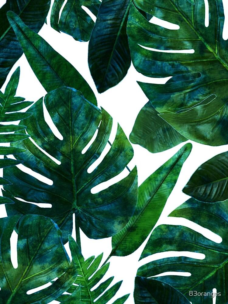 Perceptive Dream, Tropical Jungle Nature Botanical Watercolor Painting, Palm Monstera Bohemian Illustration by 83oranges
