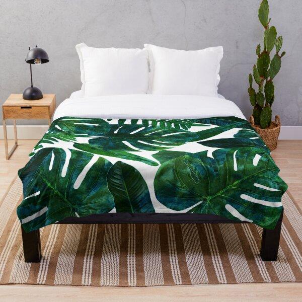 Perceptive Dream, Tropical Jungle Nature Botanical Watercolor Painting, Palm Monstera Bohemian Illustration Throw Blanket