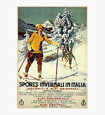 Early 1920s winter sports Italy travel advert Alps Photographic Print