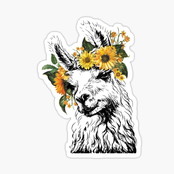 Vintage Sunflower Llama Sticker