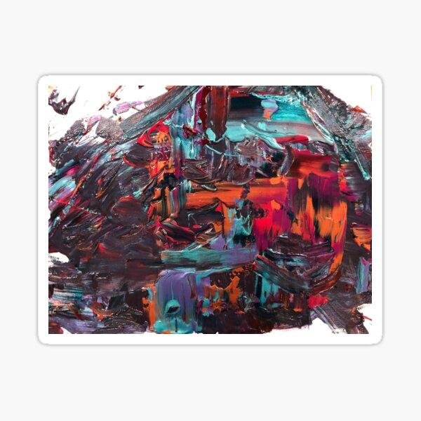 Sunset Cabana Swipe Abstract Acrylic Painting  Sticker