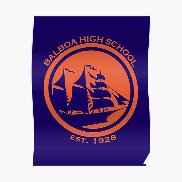 Balboa High School - Orange GSW Styled Logo Poster