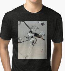 Watanabe Seitei Bird on a Flowering Branch Tri-blend T-Shirt