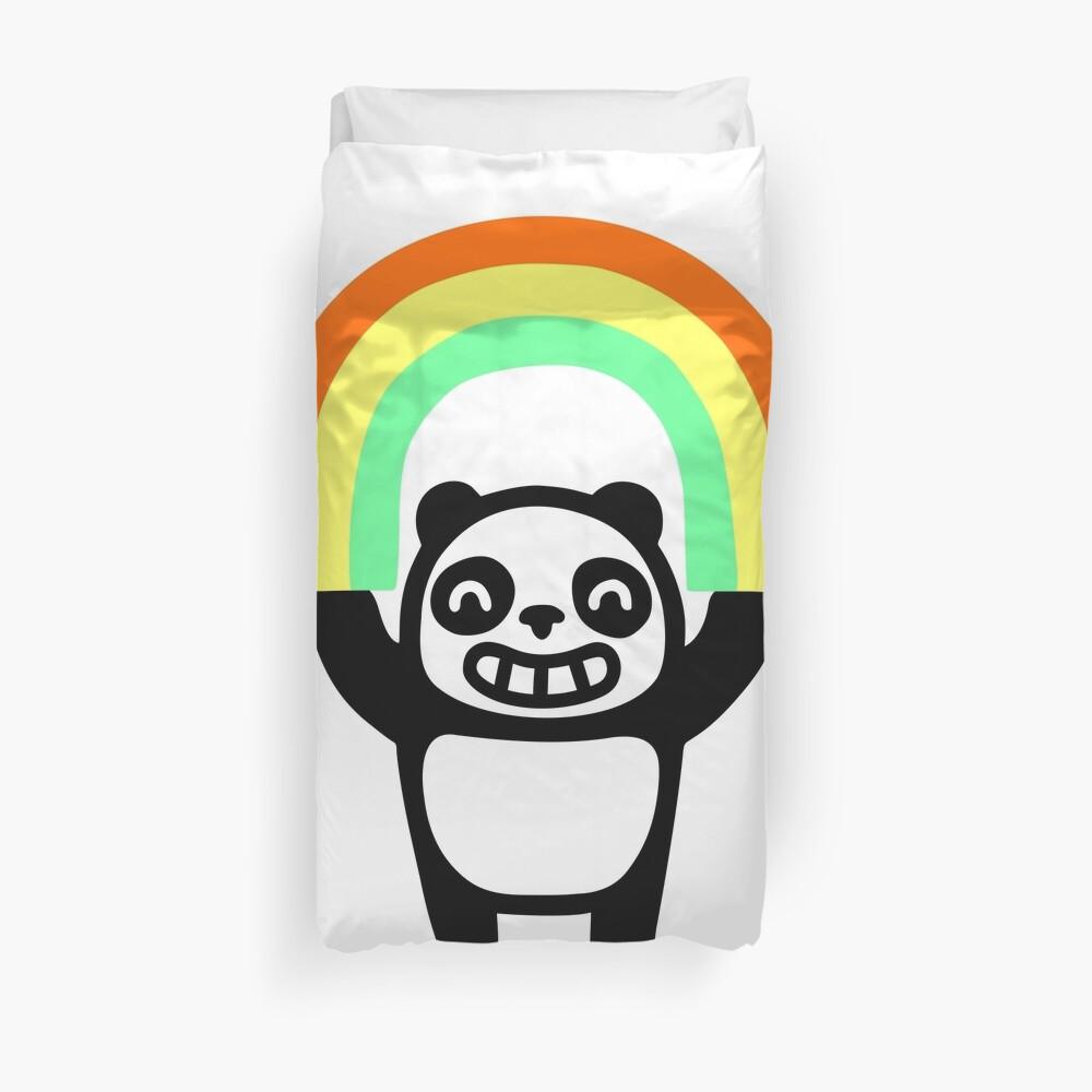 Panda Found A Rainbow Duvet Cover