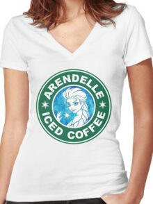 ARENDELLE ICED COFFEE  Women's Fitted V-Neck T-Shirt