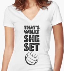 That's what she set! Women's Fitted V-Neck T-Shirt