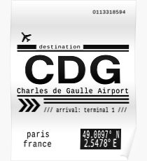 CDG Charles de Gaulle Airport Paris France Call Letters Poster