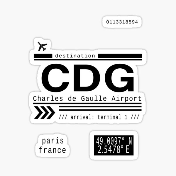 CDG Charles de Gaulle Airport Paris France Call Letters Sticker