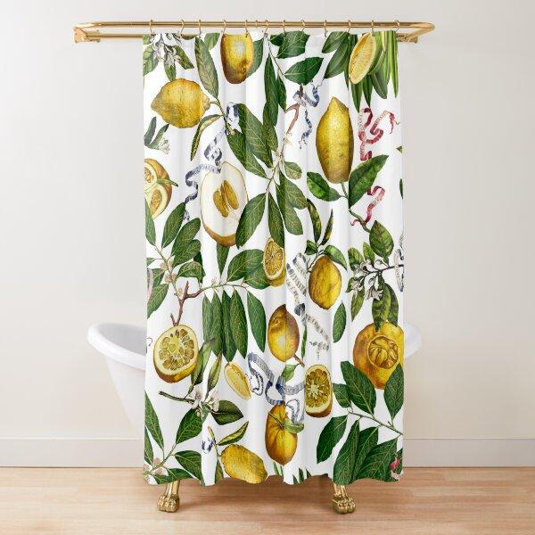 Lemon Tree - White Shower Curtain
