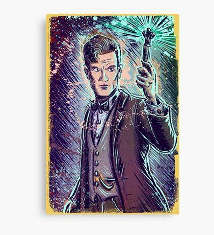 Dr Who Matt Smith Art Print the 11th doctor who BBC British Television Show Series bow tie sonic screwdriver fez joe badon science fiction Canvas Print