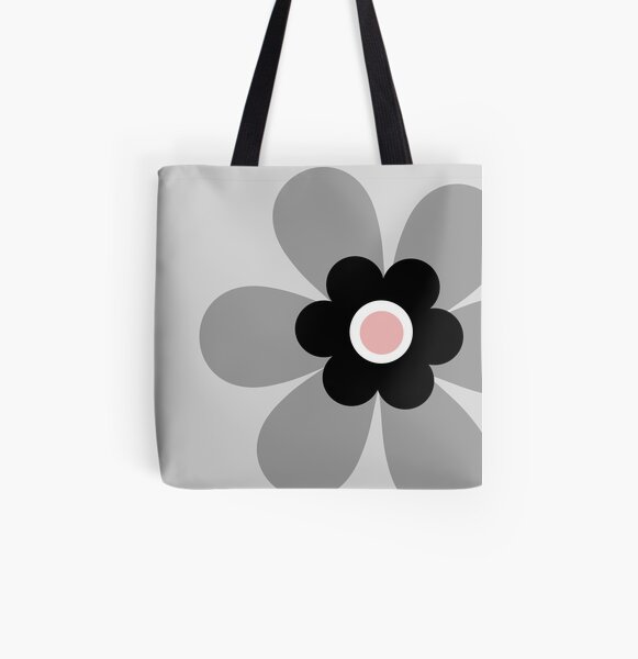 Cute retro 70s simple flower power groovy block colour graphic, in soft pastel grey, black and blush pink  All Over Print Tote Bag