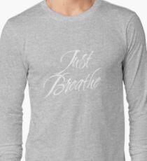 Just Breathe (White-Blue) Long Sleeve T-Shirt