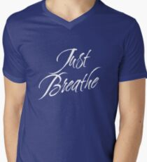Just Breathe (White-Blue) Men's V-Neck T-Shirt