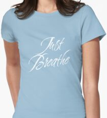 Just Breathe (White-Blue) Womens Fitted T-Shirt