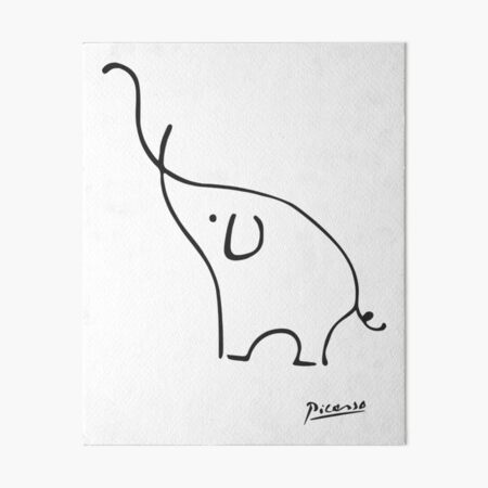 Pablo Picasso Line Art Beautiful Elephant Artwork - Drawn by Hand - Best for Painting Lovers Art Board Print