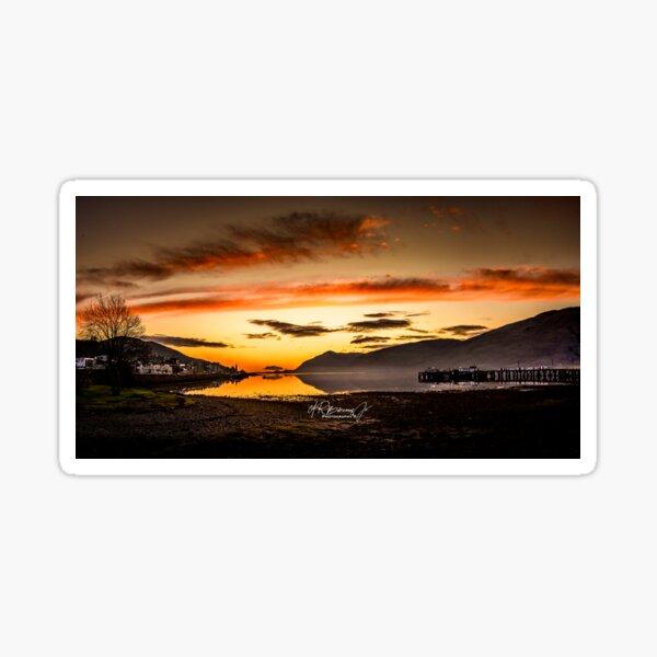 The Golden Hour Skies of Lochaber Sticker