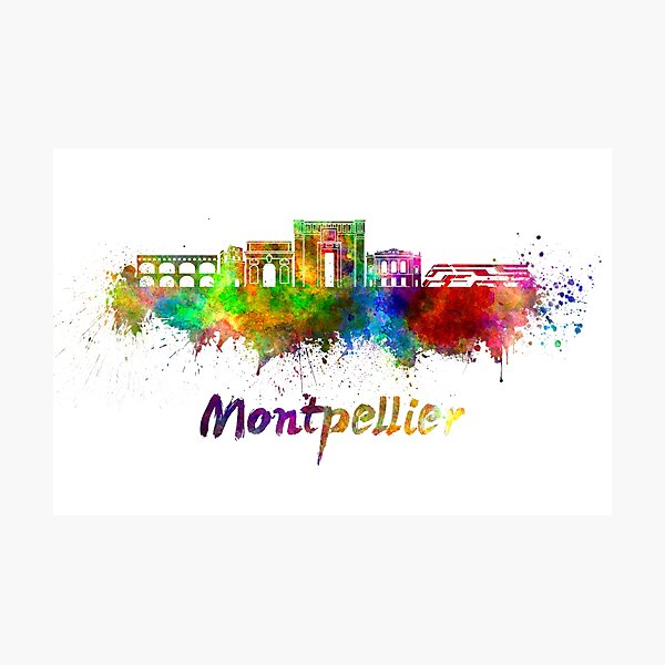 Montpellier skyline in watercolor Photographic Print