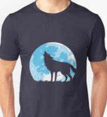 Howling Wolf At Full Moon Unisex T-Shirt