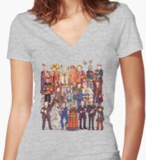 The party doesn't start until the Doctor walks in...twelve times Women's Fitted V-Neck T-Shirt
