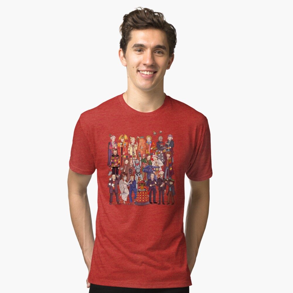 The party doesn't start until the Doctor walks in...twelve times Tri-blend T-Shirt Front