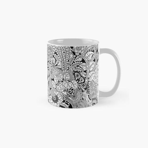 Junge Caribbean Art Ornamental Doodles Black and White Classic Mug