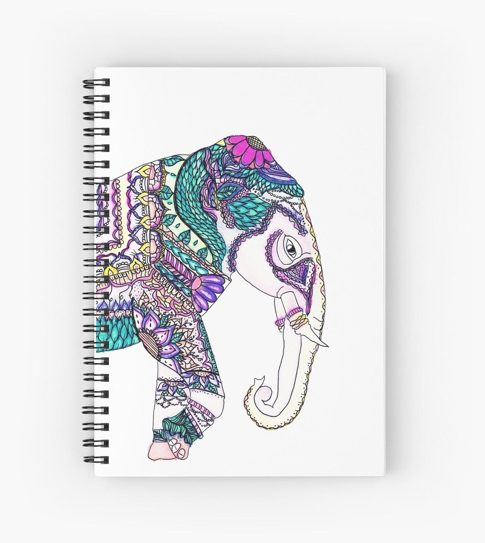 Boho Bright Watercolor Tribal Henna Elephant Spiral Notebooks By