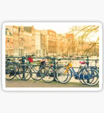 Amsterdam canal and bicycles Sticker