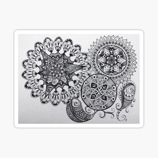 Black & White Mandala Celtic Knot Tangle Paisley Pattern Design Sticker