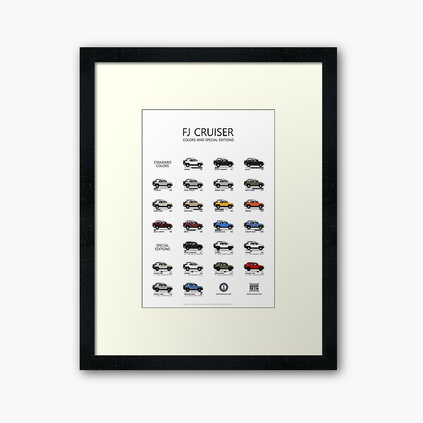 FJ Cruiser Colors and Special Editions Framed Art Print