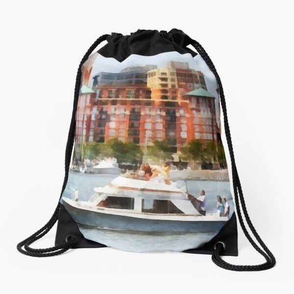 Maryland - Cabin Cruiser by Baltimore Skyline Drawstring Bag