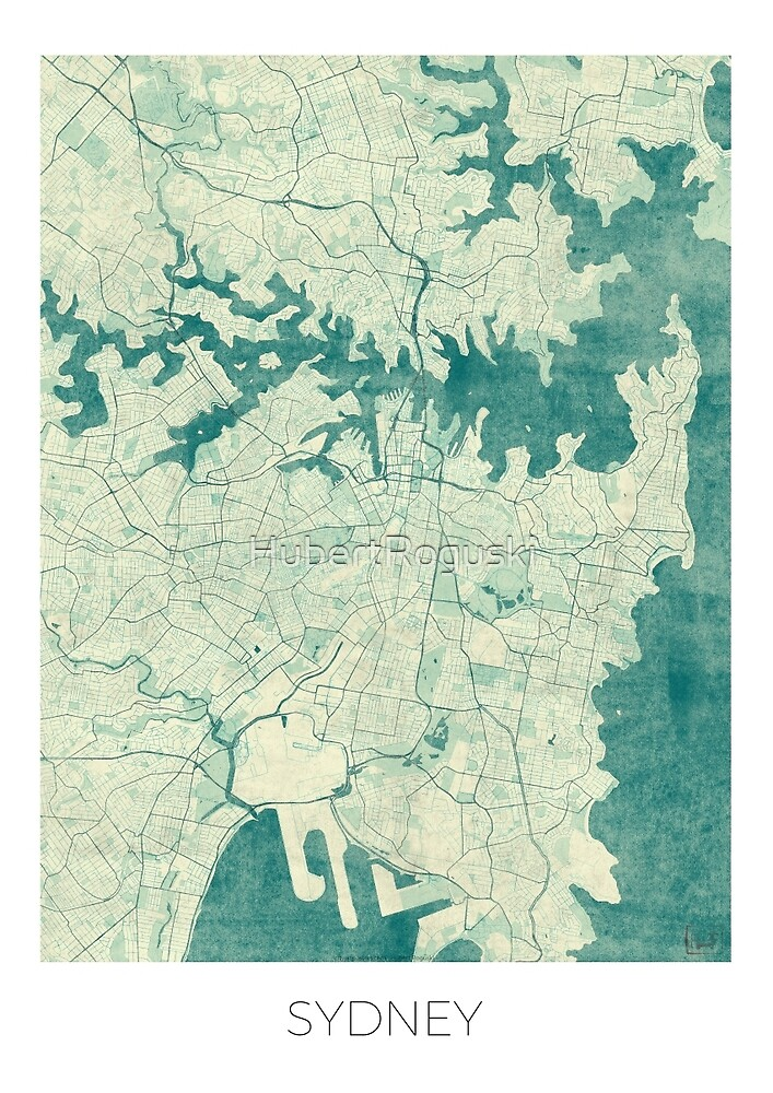 Sydney Map Blue Vintage by HubertRoguski