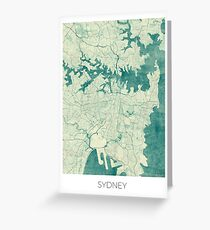 Sydney Map Blue Vintage Greeting Card