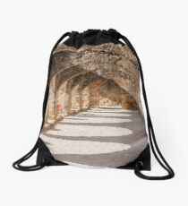 Shadows in the San Jose Mission Convento Drawstring Bag