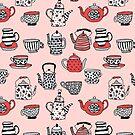 Teekanne Teatime britischer Teeparty Teekessel, Andrea Lauren Thermoskanne Becher Tee Tassen Tees von Andrea Lauren