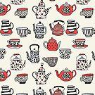 Teekanne Teatime British Tea Party Tee Kessel andrea Lauren Thermoskanne Becher Tee Tassen Tees von Andrea Lauren