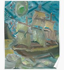 Drydock - Nautical Impressionist Oil Painting Poster