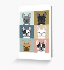 French Bulldog portraits pattern dog person gift love animal pet puppy frenchie bulldog valentines Greeting Card