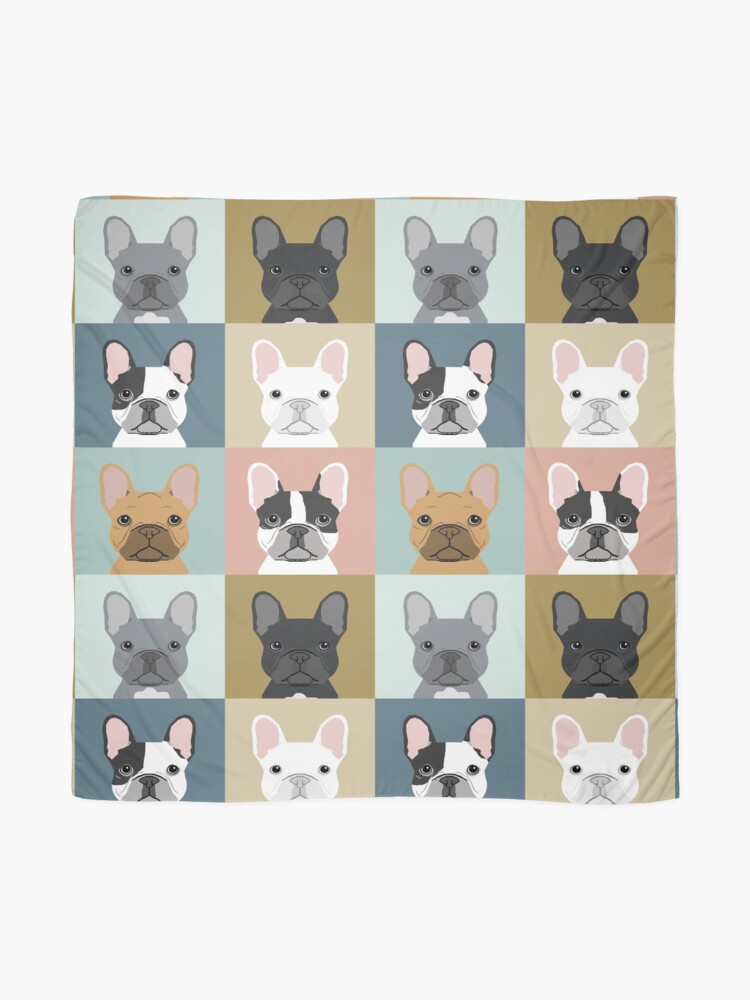 Alternate view of French Bulldog portraits pattern dog person gift love animal pet puppy frenchie bulldog valentines Scarf