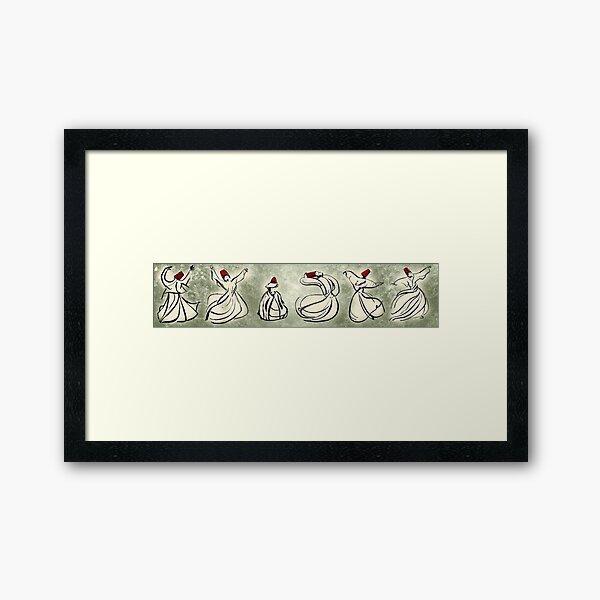 enchanting sufis - Mevlevi Sufi Whirling Dervishes Dancing Framed Art Print