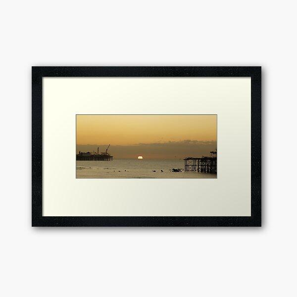 Sunrise between the piers... Framed Art Print