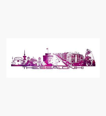 Thessaloniki skyline city purple Photographic Print
