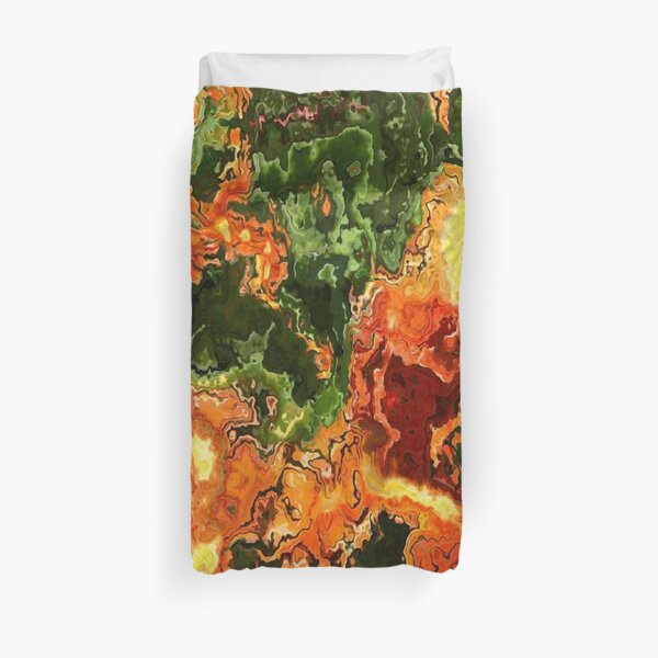 Green and orange Marble Effect Pattern Duvet Cover