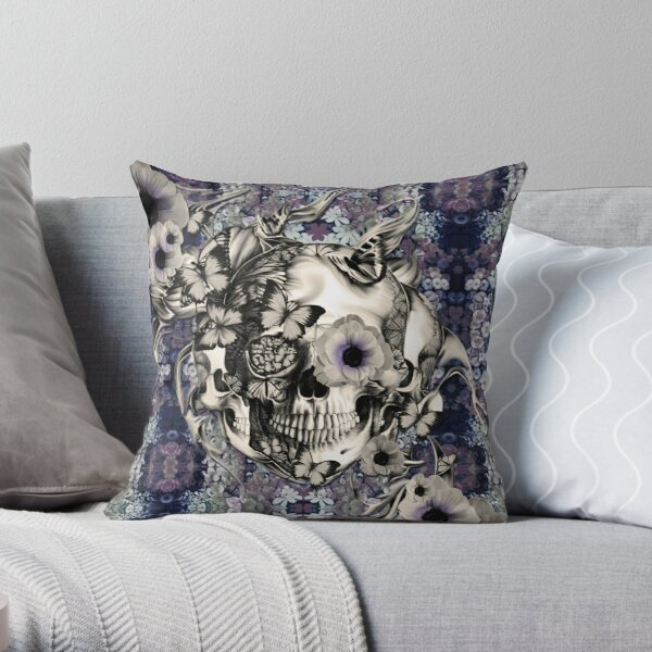 Maybe Next Time, Floral skull Throw Pillow